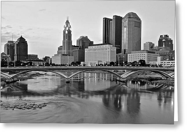 Osu Greeting Cards - Columbus Ohio Black and White Greeting Card by Frozen in Time Fine Art Photography