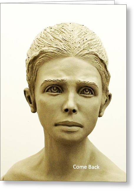 Figurative Sculpture Sculptures Greeting Cards - Come Back Greeting Card by Wayne Niemi