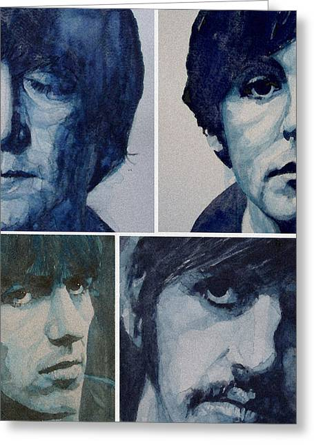 Beatles John Lennon Paul Mccartney George Harrison Ringo Starr Music Rock Icon Greeting Cards - Come Together Greeting Card by Paul Lovering