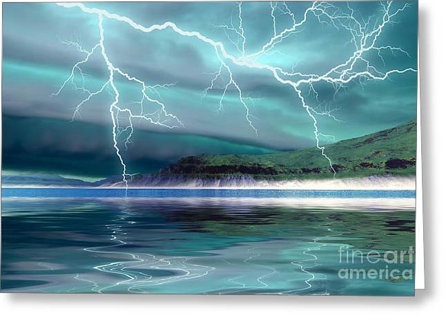 Lightning Bolt Pictures Digital Art Greeting Cards - Coming Storm Greeting Card by Corey Ford