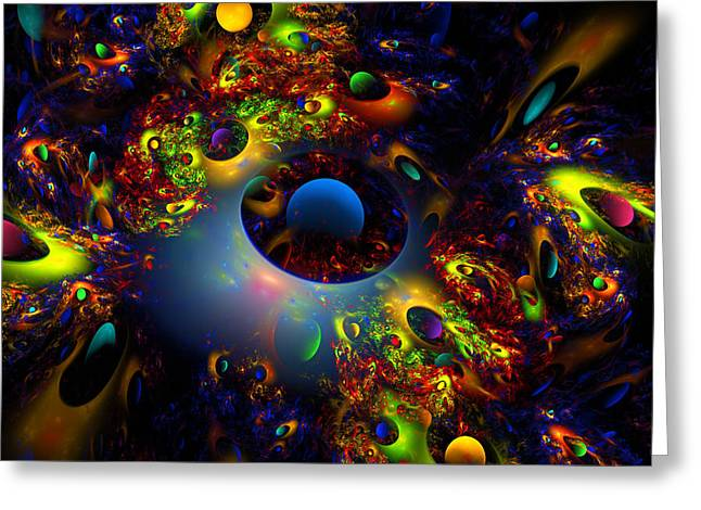 Spheres Digital Art Greeting Cards - Computer Generated Planet Spheres Abstract Fractal Flame Modern Art Greeting Card by Keith Webber Jr