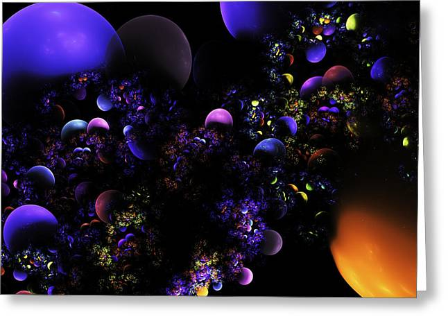 Spheres Greeting Cards - Computer Generated Spheres Abstract Fractal Flame Greeting Card by Keith Webber Jr
