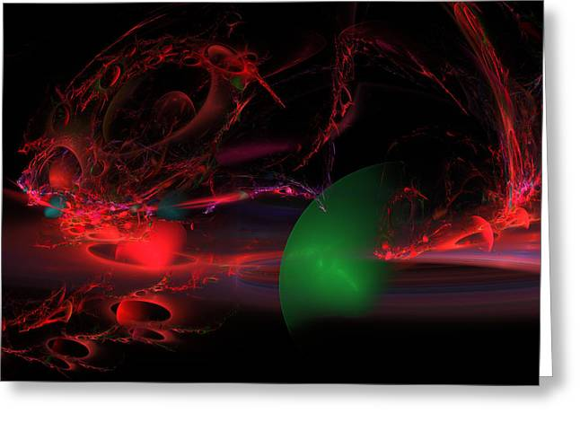 Spheres Greeting Cards - Computer Generated  Spheres Abstract Fractal Flame Modern Art Greeting Card by Keith Webber Jr