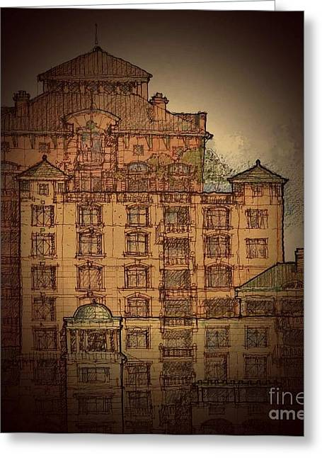 Development Drawings Greeting Cards - Condominium Greeting Card by Andrew Drozdowicz