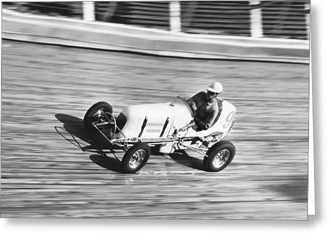 Blurr Greeting Cards - Coney Island Midget Race Car Greeting Card by Underwood Archives