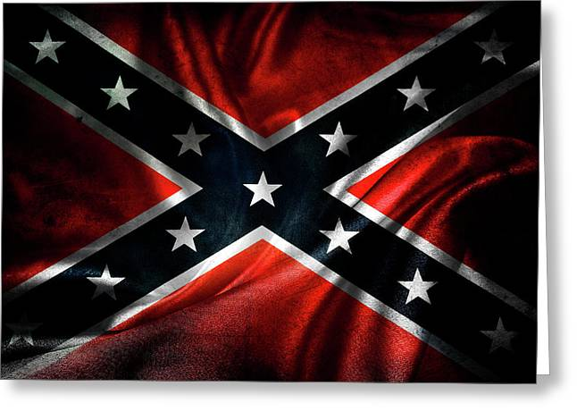 Vintage Wall Greeting Cards - Confederate flag Greeting Card by Les Cunliffe