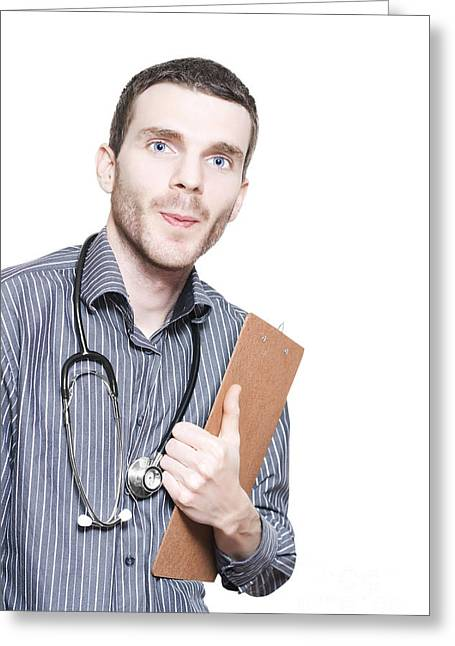 Commit Greeting Cards - Confident Male Medical Professional With Clipboard Greeting Card by Ryan Jorgensen