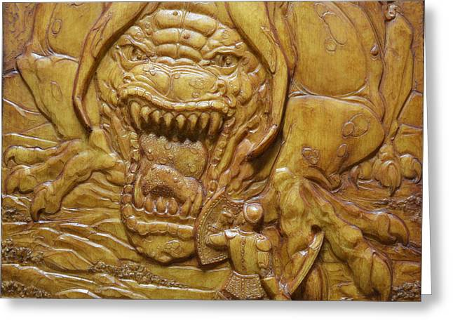 Fantasy Creature Reliefs Greeting Cards - Confrontation Greeting Card by Jeremiah Welsh