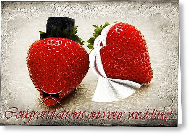 Strawberry Art Greeting Cards - Congratulations on your wedding Greeting Card by Andee Design