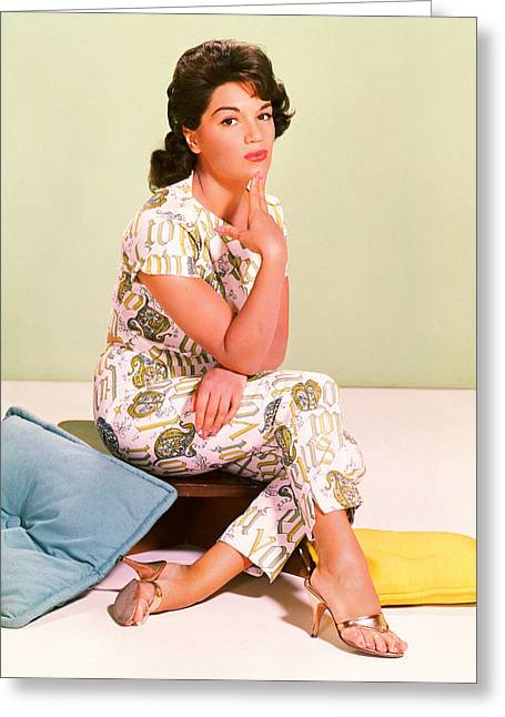 Francis Greeting Cards - Connie Francis Greeting Card by Silver Screen