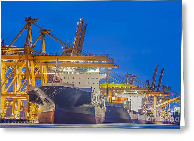 Town Pier Greeting Cards - Container Cargo freight ship with working crane Greeting Card by Anek Suwannaphoom