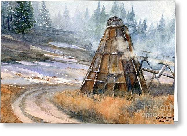 Old Mill Scenes Paintings Greeting Cards - Cookin It Greeting Card by Lynne Wright