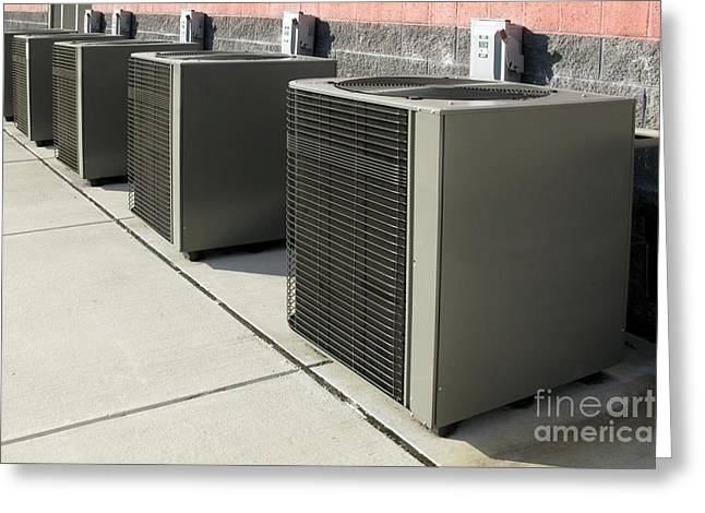 Air Conditioner Greeting Cards - Cooling Power Row Greeting Card by Olivier Le Queinec