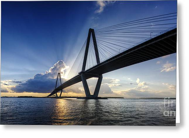 Ravenel Greeting Cards - Cooper River Bridge Charleston SC Greeting Card by Dustin K Ryan