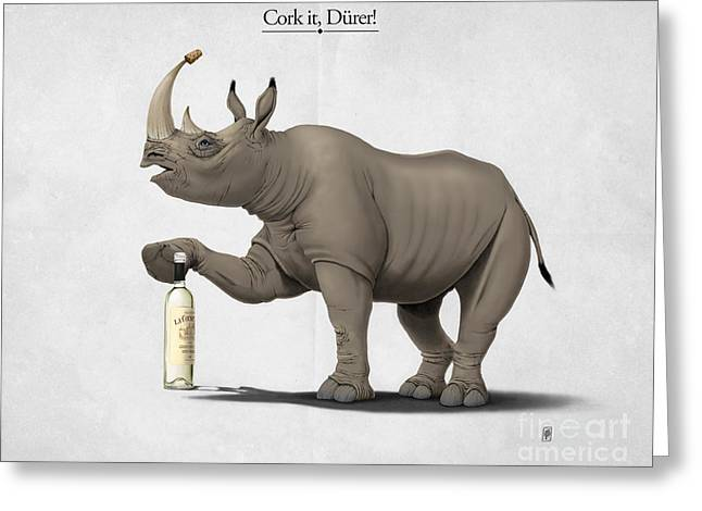Rhinoceros Mixed Media Greeting Cards - Cork it Durer Greeting Card by Rob Snow