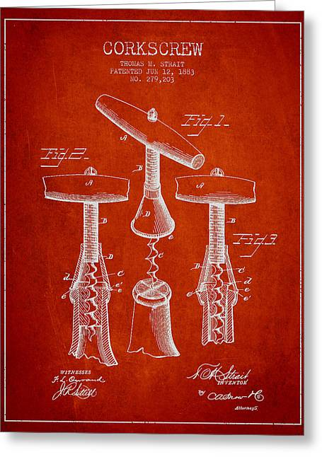 Corkscrew Art Greeting Cards - Corkscrew patent Drawing from 1883 Greeting Card by Aged Pixel