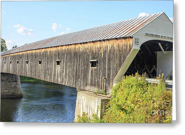 Covered Bridge Greeting Cards - Cornish-Windsor Covered Bridge  Greeting Card by Edward Fielding