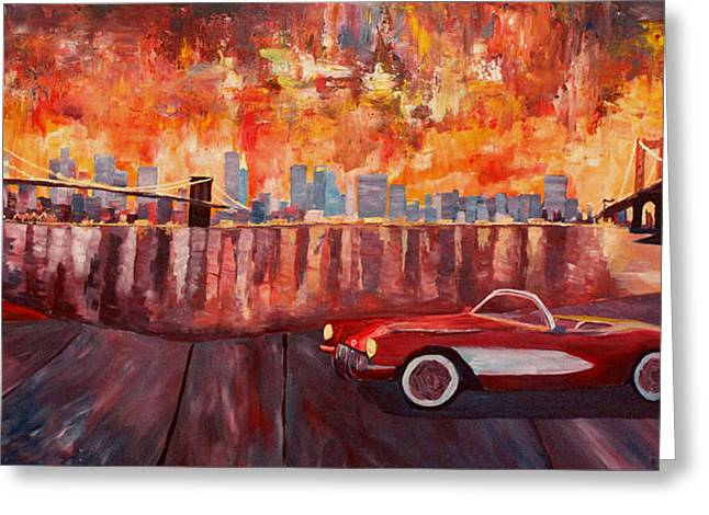 Nyc Posters Paintings Greeting Cards - Corvette and Manhattan with two bridges  Greeting Card by M Bleichner