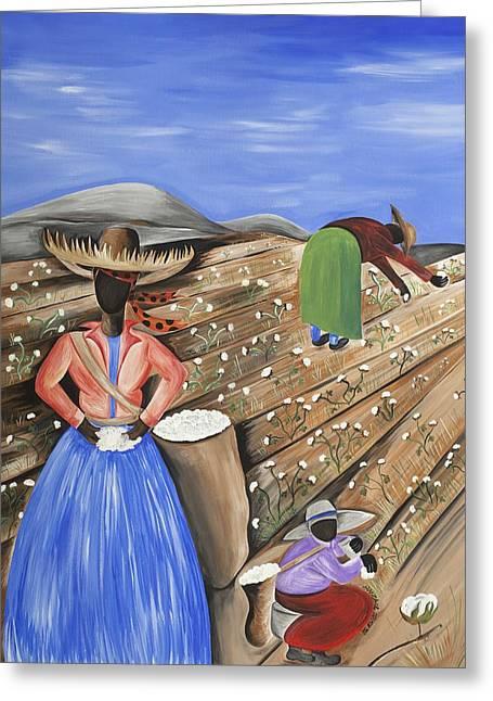 Gullah Art Greeting Cards - Cotton Pickin Cotton Greeting Card by Patricia Sabree