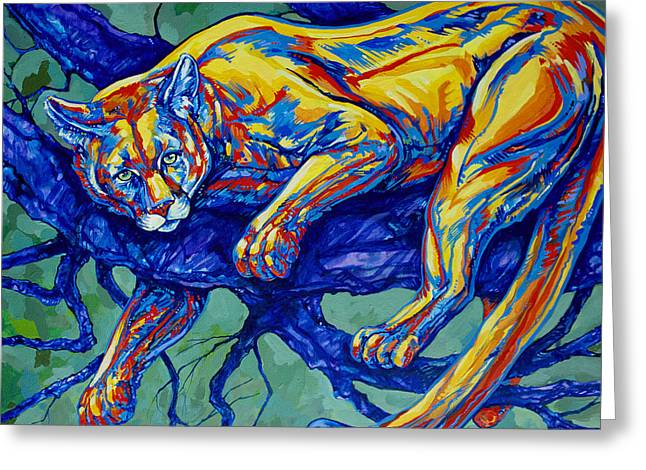Western Wild Cats Paintings Greeting Cards - Cougar Greeting Card by Derrick Higgins