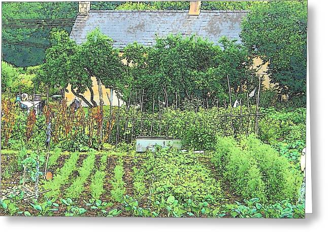 Garden Scene Greeting Cards - Country Cottage Greeting Card by Jan Matson