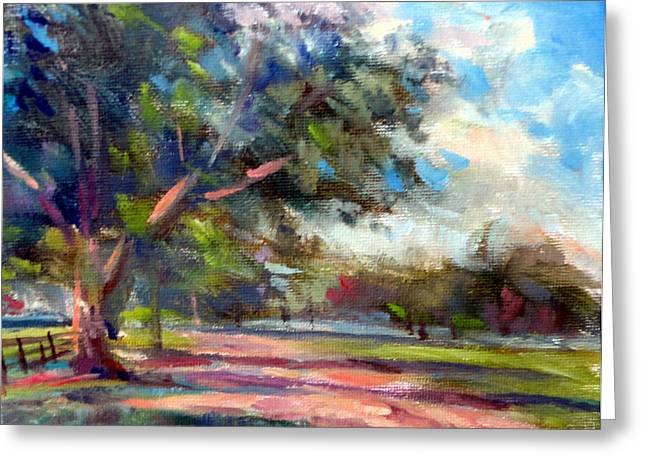 Mountain Climbing Print Paintings Greeting Cards - Country Lane Greeting Card by Mark Hartung