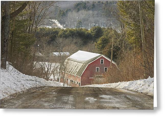 Rural Maine Roads Photographs Greeting Cards - Country Road And Barn In Winter Maine Greeting Card by Keith Webber Jr