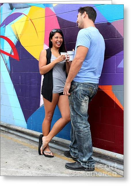 Coffee Drinking Greeting Cards - Couple Talking Greeting Card by Henrik Lehnerer