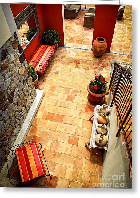 Mediterranean House Greeting Cards - Courtyard of a villa Greeting Card by Elena Elisseeva