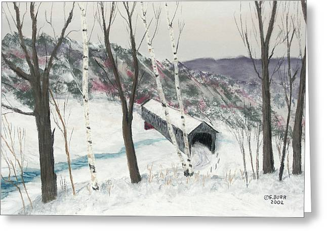 Winter Roads Pastels Greeting Cards - Covered Bridge Greeting Card by George Burr