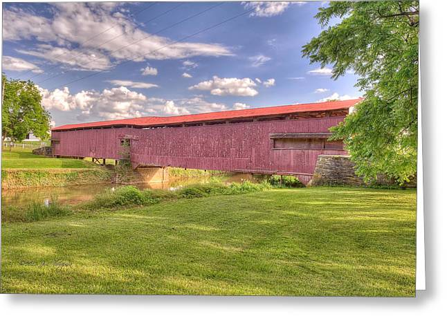 Lancaster Fine Arts Greeting Cards - Covered Bridge Greeting Card by Jim Thompson