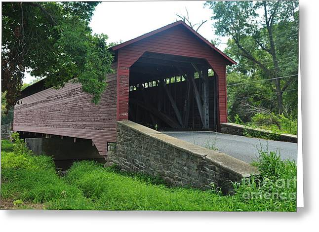 Covered Bridge Greeting Card by Mike Baltzgar