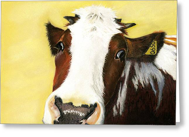 Cattle Pastels Greeting Cards - Cow No. 0650 Greeting Card by Carol McCarty