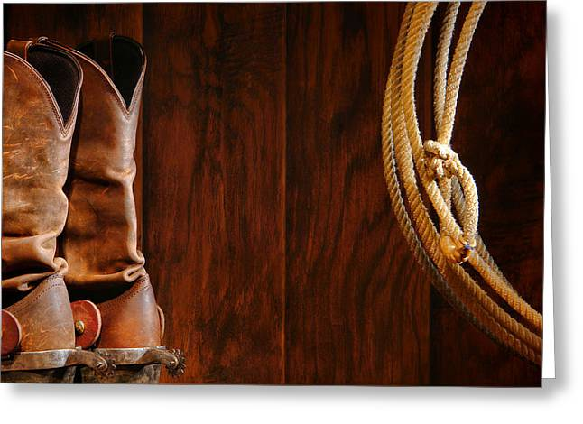 Cowboy Boots And Lasso Lariat Greeting Card by Olivier Le Queinec