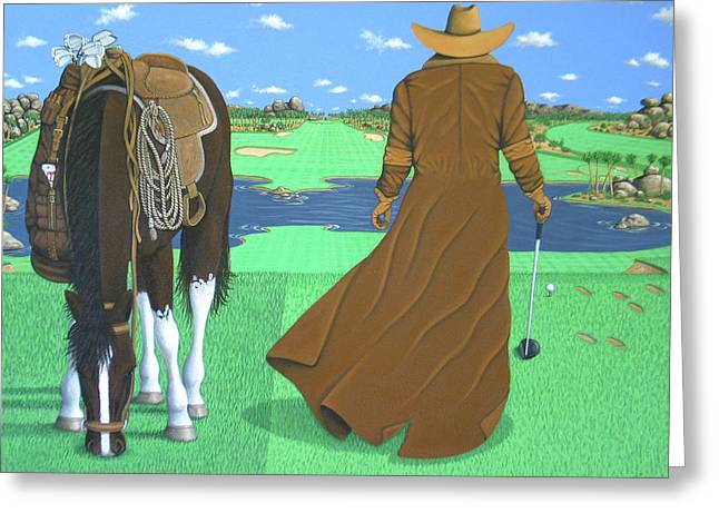 York Beach Paintings Greeting Cards - Cowboy Caddy Greeting Card by Lance Headlee