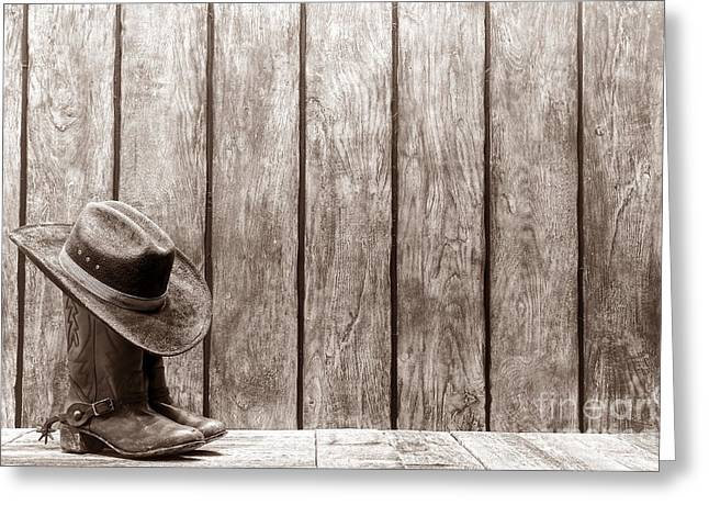 Black Boots Greeting Cards - Cowboy Hat on Boots Greeting Card by American West Legend By Olivier Le Queinec