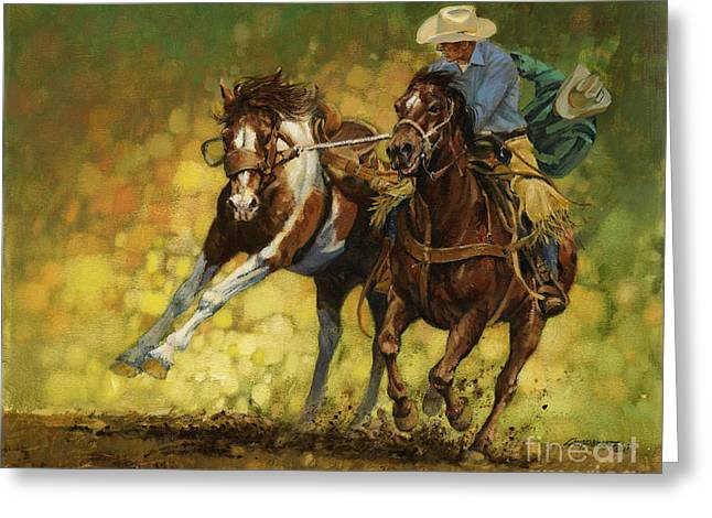 Bucking Horses Greeting Cards - Rodeo Pickup Greeting Card by Don  Langeneckert