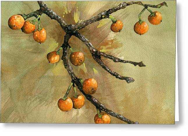 Indiana Flowers Paintings Greeting Cards - Crabapple Greeting Card by John Christopher Bradley