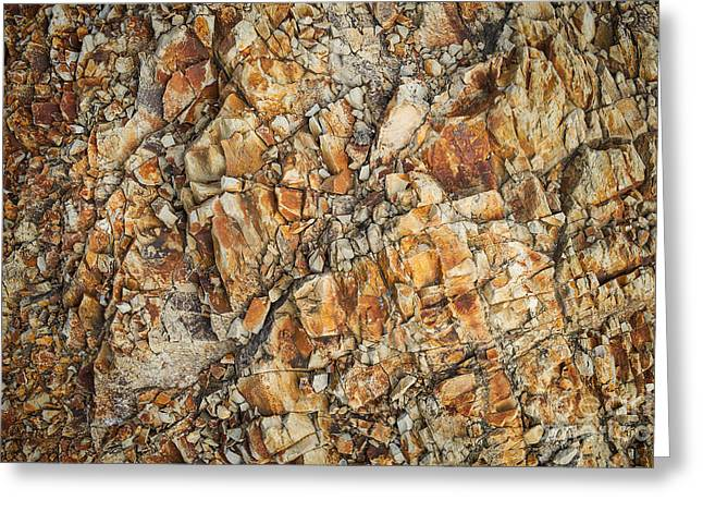 Water Worn Sandstone Greeting Cards - Cracked Greeting Card by Dean Harte