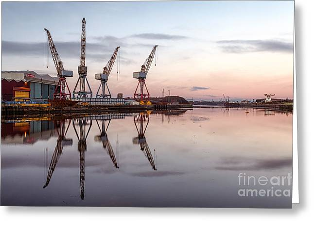 Glasgow Greeting Cards - Cranes on the Clyde  Greeting Card by John Farnan