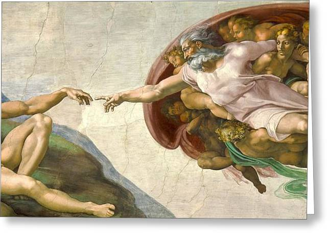 1510 Paintings Greeting Cards - Creation of Adam Greeting Card by Michelangelo Buonarroti