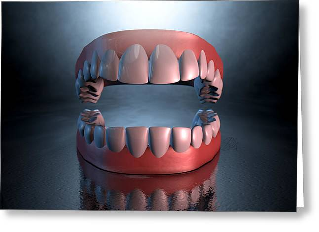 Chilling Greeting Cards - Creepy Teeth  Greeting Card by Allan Swart