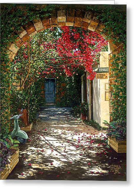 Entrance Door Greeting Cards - Crimson Canopy Greeting Card by Doug Kreuger