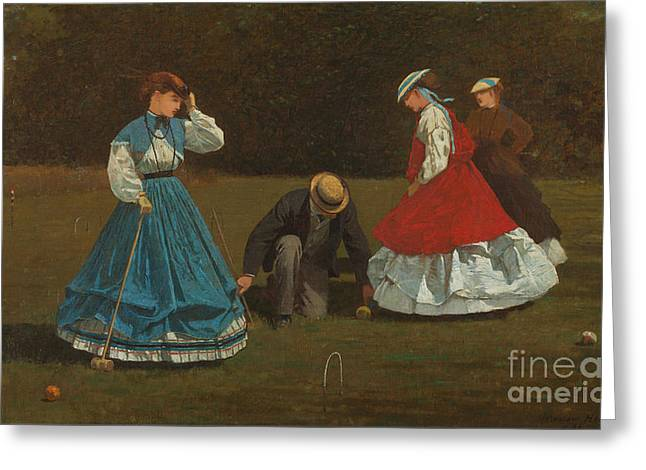 Croquet Greeting Cards - Croquet Scene Greeting Card by Celestial Images