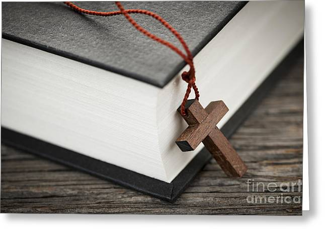 Spirituality Greeting Cards - Cross and Bible Greeting Card by Elena Elisseeva