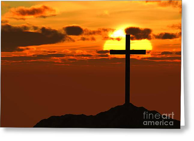 Calvary Greeting Cards - Cross / Crucifix on Hilltop Against Beautiful Sunset Greeting Card by Shazam Images
