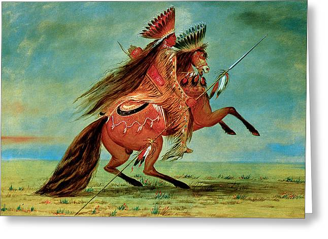 Indian Warriors Photographs Greeting Cards - Crow Chief Greeting Card by George Catlin