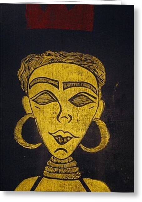 Red Abstract Reliefs Greeting Cards - Crown Me Queen Greeting Card by Tarynn Jackson