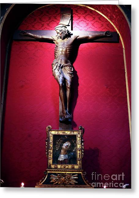 Crucifix Greeting Cards - Crucifix Greeting Card by John Rizzuto