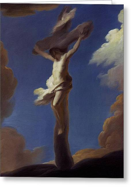Catholic Art Greeting Cards - Crucifix Greeting Card by Victor Gladkiy